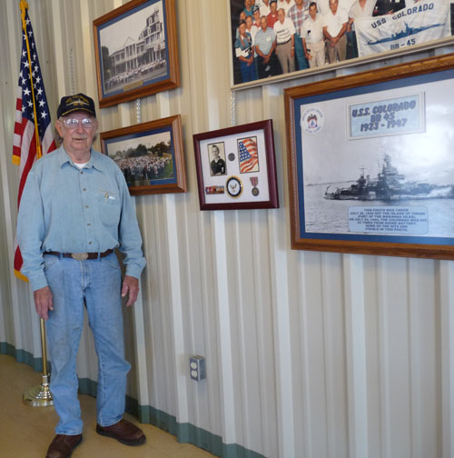 WWII veteran Joe Ware Sr. in his son's pizza shop in Bertram, Texas