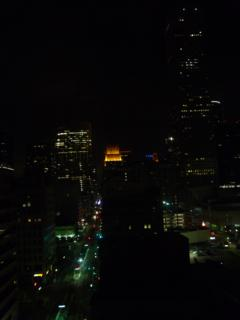 Downtown view of Houston from our Hotel ICON room