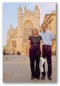My wife and I in front of Abbey Church, Bath, England