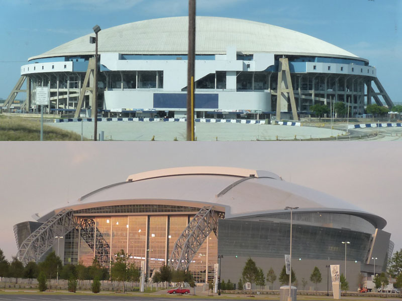 Texas Stadium Old and New