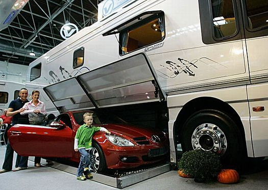Volkner German RV with hideaway for your vehicle