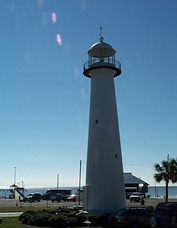 The Biloxi Lighthouse, pride of the state, stands tall along the Mississippi coast