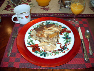 The delicious German Apple Pancakes at the Villa B&B in Galveston